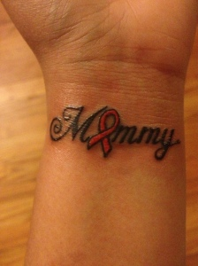 This is my mommy tattoo and a breast cancer ribbon colored in pink that I got on my wrist.